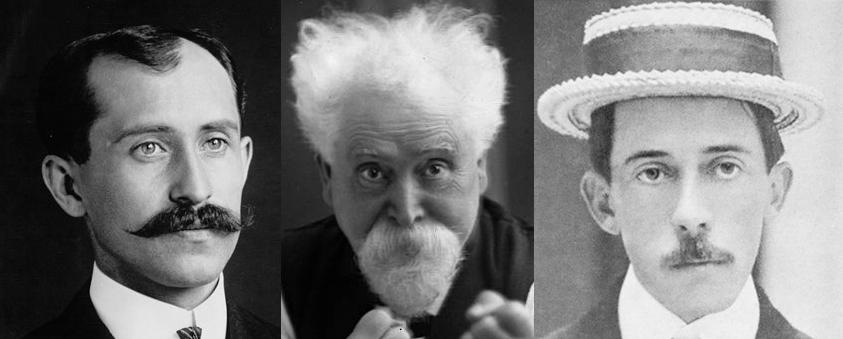 O.Whright, H. Stevens Maxim, A. Santos-Dumont.